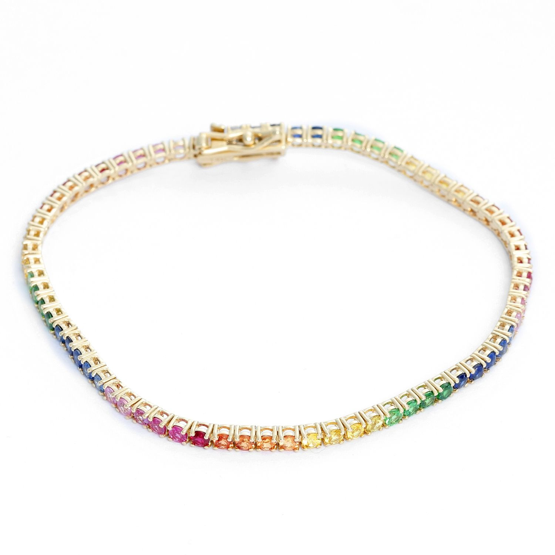 Details about  /5 Ct Classic Rainbow Multi Color Sapphire Tennis Bracelet 14k Yellow Gold Over
